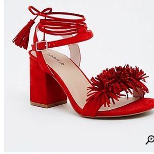 ab002c5d581 torrid Shoes - Red open toe fringe heels 🚫 Sorry no holds